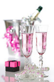 Valentine Pink Champagne — Stock Photo
