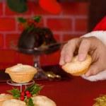 Santa Takes A Mince Pie — Stock Photo