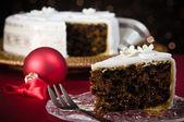 Tranche de gâteau de Noël — Photo