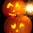 Stock Photo: Lit Jack O Lanterns