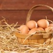 Stock Photo: Eggs In The Barn