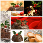 Christmas Food Montage — Stock Photo