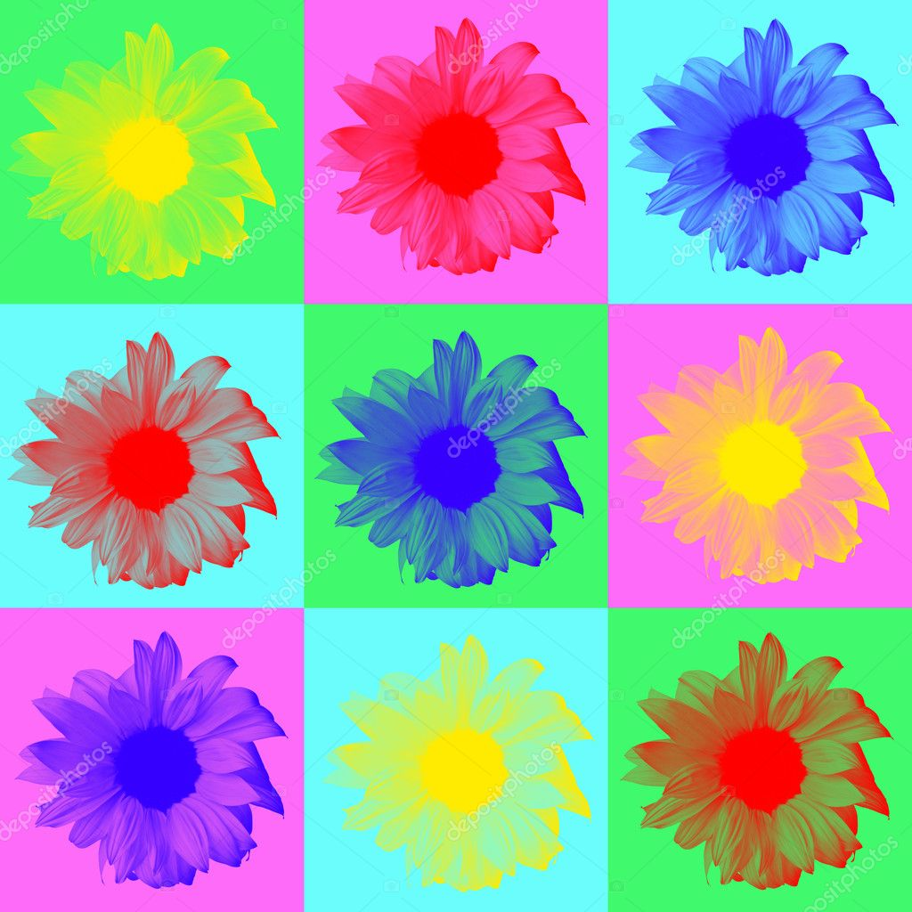 Pop art digitally created image of sunflowers on multi colored background — Stock Photo #11574958