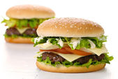 Twin Burgers — Stock Photo