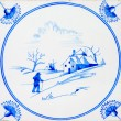 Antique Delft Tile - Stock Photo