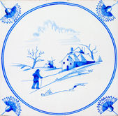 Antique Delft Tile — Stock Photo