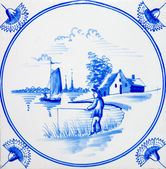 Delft Fisherman Tile — Stock Photo