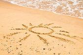 Sun Drawn On Beach — Stock Photo