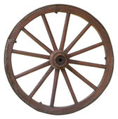 Isolated vintage carriage wheel — Stock Photo