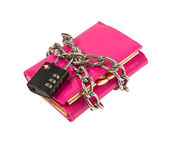 Wallet with chain and padlock — Stock Photo