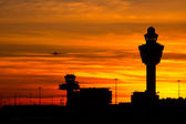 Airport sunset — Stock Photo