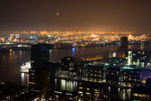 Rotterdam harbor night — Stock Photo