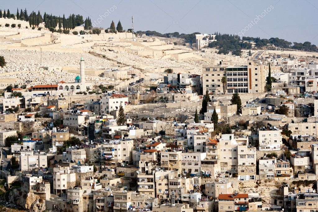 View from the old city walls on East-Jerusalem and a part of the Mount of Olives. Israel  Stock Photo #11453321