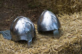 Knight medieval helmets — Stock Photo