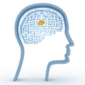Human head with a maze and brain — Stock Photo