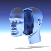 Human head with separate face — Stock Photo