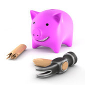 Piiggybank with broken hammer — Stock Photo