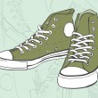 Green Sneakers — Stockvektor