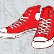 Red sneakers — Stock Vector #11976360