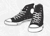 Black sneakers — Stock Vector