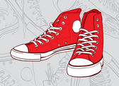 Red sneakers — Stock Vector