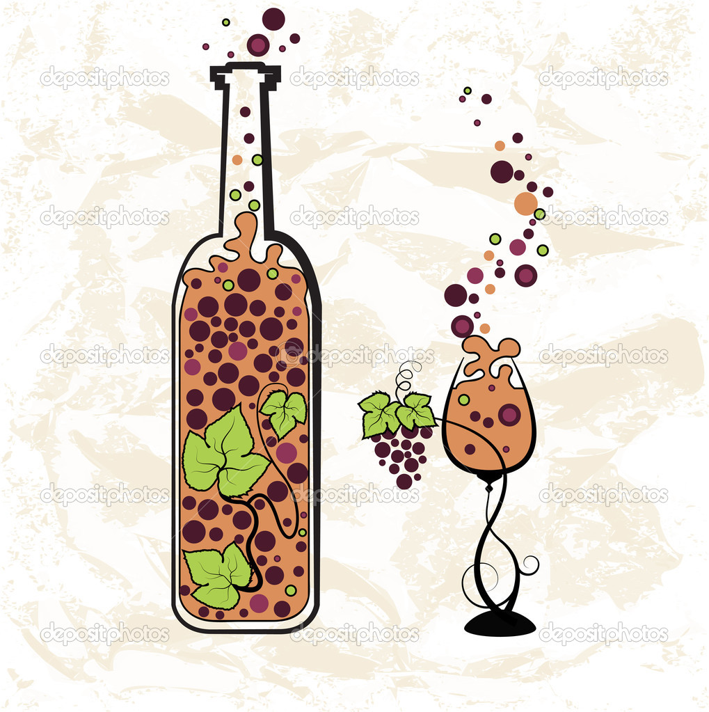 Vintage wine bottle and glass — Stock Vector © AnSim #11869374
