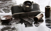 Vintage camera in backlight — Stock Photo