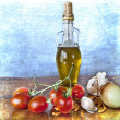 Mediterranean flavours - spices, olive oil, cherry tomatoes - Stock Photo