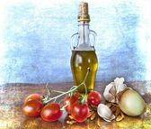 Sabores mediterrânicos - especiarias, azeite, tomate cereja — Foto Stock