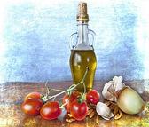 śródziemnomorskie smaki - przyprawy, oliwa z oliwek, pomidory — Zdjęcie stockowe