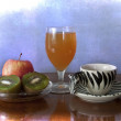 Healthy morning breakfast: espresso, fruits, juice. Low calories — Stock Photo #11504973
