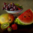 Stock Photo: Classical still life with grapes tray and fresh fruits
