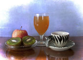 Healthy morning breakfast: espresso, fruits, juice. Low calories — Stock Photo