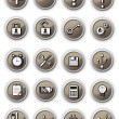 Brown technical buttons — Stock Vector