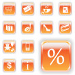 Bright Orange Shopping Buttons — Stock Vector