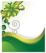 Fondo verde con un lazo de regalo — Vector de stock