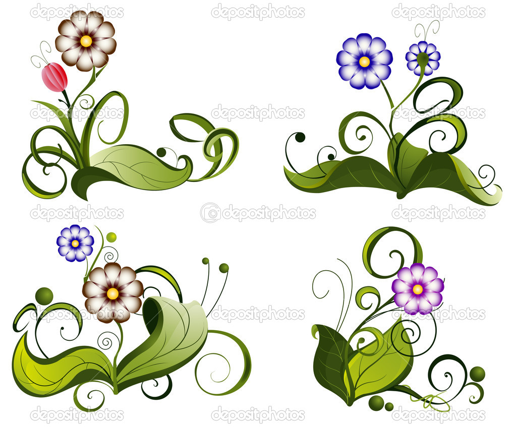 Compositions with wild flowers and leaves on a white background — Stock Vector #11923406