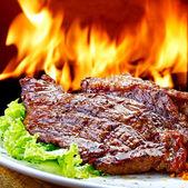 Churrasco na flamejante quente — Foto Stock