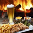 Beer steak fries — Stock Photo