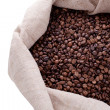 Studio Shot of Coffee Beans in a Bag — Photo