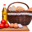 Ingredients for breakfast: tomatoes, eggs, garlic, bread — Stock Photo