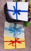 Three envelope against the basket and sacking — Stok fotoğraf