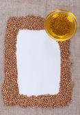 Quadro feito de trigo sarraceno na lona — Fotografia Stock