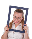 Business lady looks out of the frame — Stock Photo