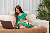The woman with laptop. — Stock Photo