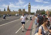 Jogging on Westminster Bridge — Stock Photo