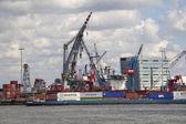 Containerschip in de Rotterdamse haven — Stock Photo