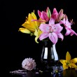 Beautiful bouquet with lilies - Stock Photo