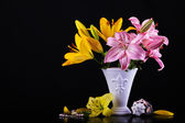 Beautiful bouquet with lilies — Stock Photo