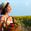 Peasant woman with basket of apples — Stock Photo
